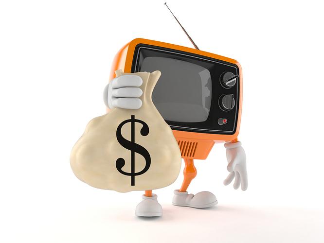 Fernseher Figur hält Münzsack