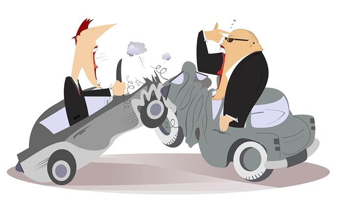 2 Personen schreien sich an nach Autounfall