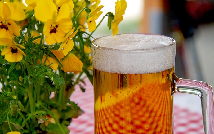 Maß Bier neben Blumen