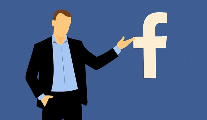 Person zeigt auf Facebook Logo