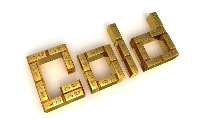 Gold mit Goldbarren geschrieben