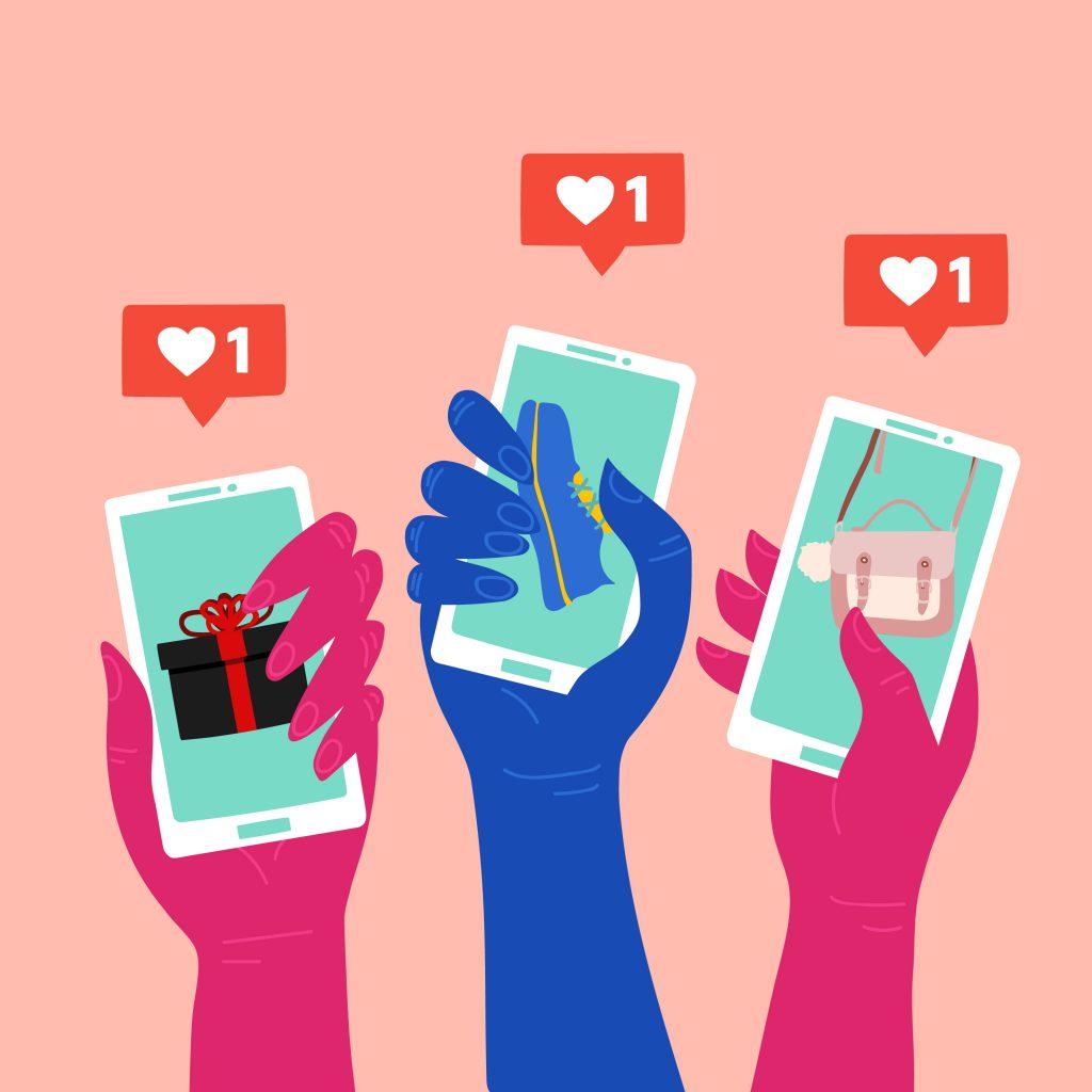 Hände halten Smartphones mit Herz Icons